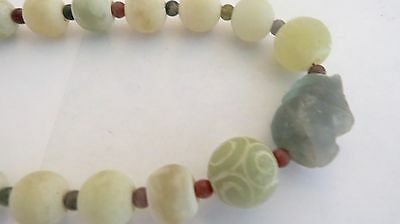 ANCIENT Multi-Color Variety Sizes Carnelian & Jade  BEADS THAILAND  NECKLACE