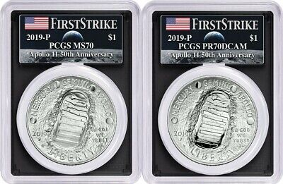 2019-P Apollo 11 50th Anniversary 2PC. Silver Dollar Set PCGS MS70 PR70 FS