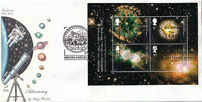 (25900) GB Fourpenny FDC Astronomy minisheet Afghanistan BFPS 2002