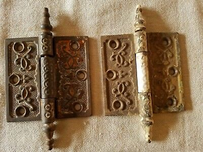 PAIR Old Cast ORNATE HINGES with Steeple Pin  3-1/2 ""