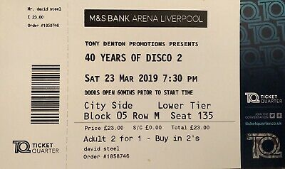 40 Years Of Disco 2 Tickets Liverpool 2 For 1 , Half Price , Two Tickets