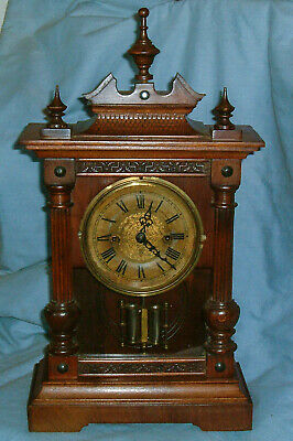 Antique - German - Striking, Wooden Mantel Clock - From the turn of the century