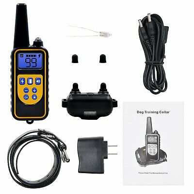Dog Shock Training Collar Rechargeable Remote Control Waterproof 875 Yards New
