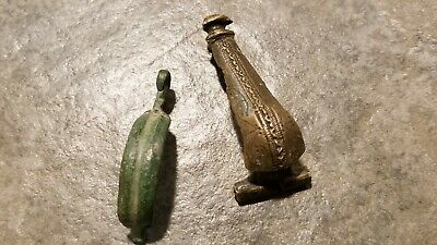 Ancient Roman Bronze Decorated FIBULAE Lot Of 2, 1st - 4th Century AD, No Pins