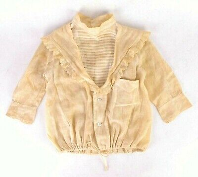 Antique 1800's Victorian Baby Shirt Blouse Bib Hand Lace Tunic Newborn Unisex
