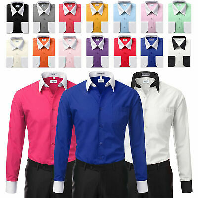 0ca4943bca1 Berlioni Italy White Collar   Cuffs Mens Two Tone Dress Shirt All Colors    Sizes