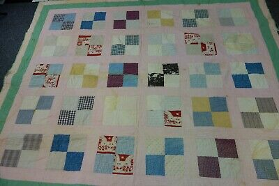 """Edwardian Quilt -CHECKERBOARD Pattern-71""""x81"""" -Pink,Green & Calico-CUTTER SALE"""