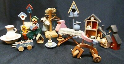 Dollhouse Miniatures Wooden Furniture Birdhouses Accessories Tricycle etc.