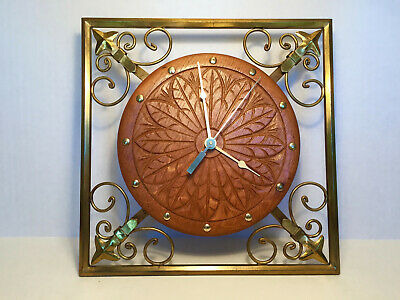VINTAGE Hand Carved Danish Oak Square Brass Wall Clock BRAND NEW QUARTZ MOVEMENT