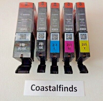 Canon PGI 250 CLI 251 Ink Cartridge Set of 5 CMYK NEW OEM Genuine Sealed Setup
