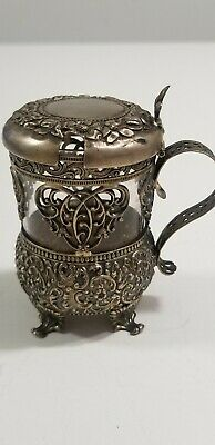 Sterling Silver Glass Lined Mustard Pot