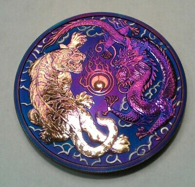 2018 Australia  Dragon & Tiger 1oz Silver Coin with Beautiful toning. Must See