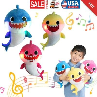 US Baby kids Plush Shark Singing Toys Music Doll English Song Gift Stuffed Plush