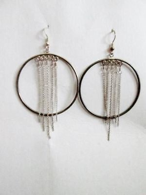 925 STERLING SILVER HOOP LOOP Pierced Earring Jewelry FRINGE Dangle Boho Chainli