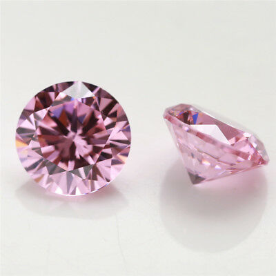 100pcs 0.8~15mm Round Shape Pink 5A loose cz stone cubic zirconia gemstone