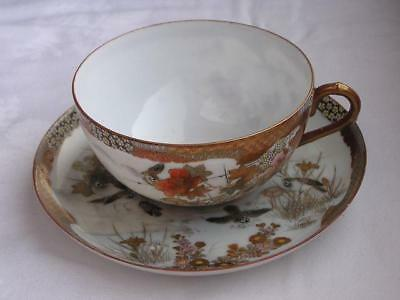 Antique Japanese Kutani cup and saucer marked Oda 1900-12 handpainted #4432C