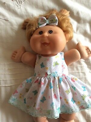 "DOLLS CLOTHES TO FIT 14"" CABBAGE PATCH DOLL -  Dress, Hair Bow. Small Butterflie"