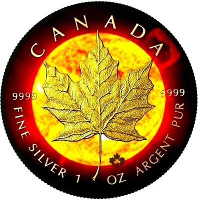 2015 Canadian Solar Flare Maple Leaf 1 Oz .9999 Silver / 24K Gold Ruthenium Coin