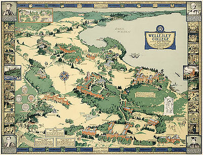 1943 Map Wellesley College Campus Pictorial Birds-Eye View Wall Art Poster Decor