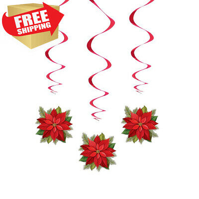 """26"""" Hanging Poinsettia Plaid Holiday Decorations, 3ct"""