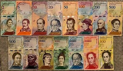 Venezuela - Full Set 8  Soberanos Notes + 7 Notes Fuertes. Total 15 Unc Notes