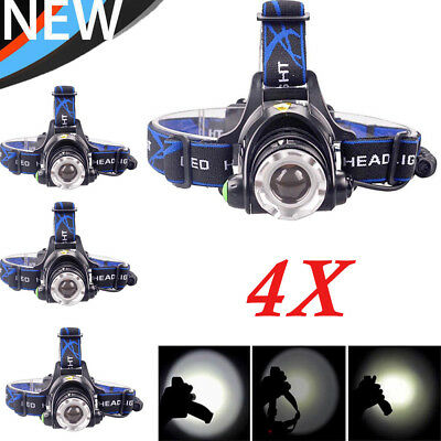 4X 80000LM Rechargeable T6 LED Headlamp 18650 Headlight Head Lamp Torch Light UK
