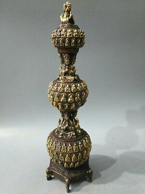 China Old collection Qianlong Year Pure copper Gilt Ten thousand Buddha tower