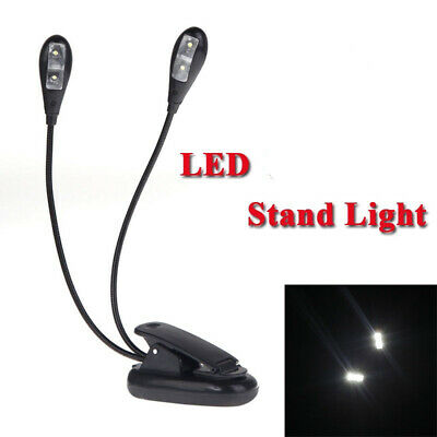 Book Lamp Clip-on 2 Dual Arm 4 LED Flexible Reading Music Stand Lights