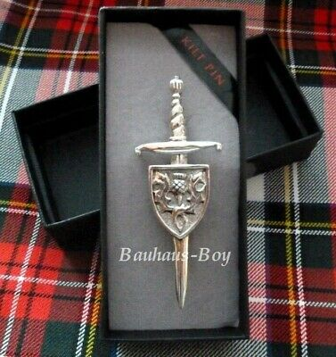 Kilt Pin Celtic Claymore Thistle Shield Solid Pewter Made In Scotland Kilts New