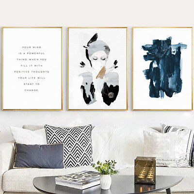 AU_ JT_ Abstract Girl Canvas Wall Painting Poster Picture Art Home Decor Unframe