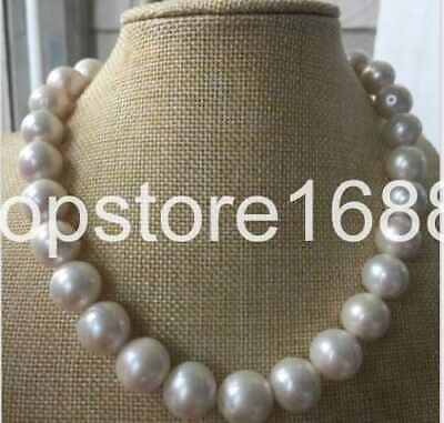 huge13-14MM ROUND SOUTH SEA WHITE PEARL NECKLACE 18INCH 14K