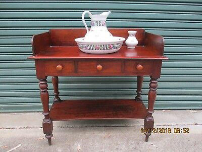 -ANTIQUE AUSTRALIAN CEDAR WASHSTAND w JUG & BASIN - PUO SOUTHERN HIGHLANDS~