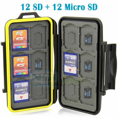 Water Resistant Holder Storage Memory Card Case Fits 12 SD+12 Micro SD TF Cards