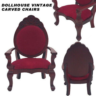 Vintage Miniature Wood Carved Chair For 1:12 Dollhouse Furniture Decoration