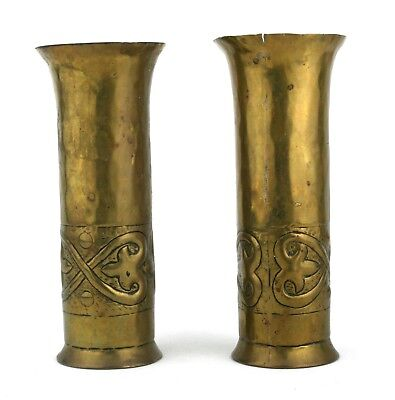 Arts & Crafts Brass Vases Pair WH Mawson Keswick School