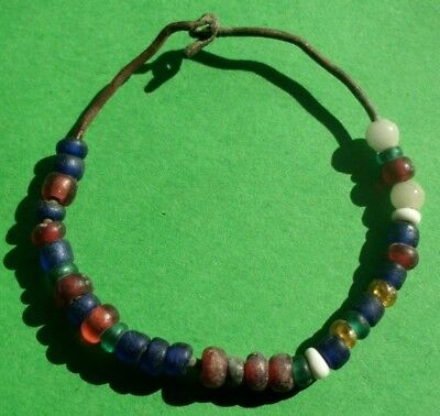 Authentic Ancient Roman Child Bronze Wire Bracelet With 33 Glass Beads - Superb