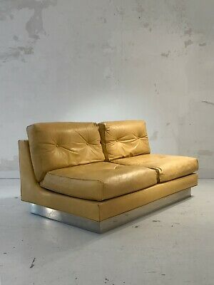 1960 JACQUES CHARPENTIER CANAPE SOFA Cuir MODERNISTE SPACE-AGE Tobia Scarpa