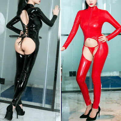 Damen Latex Leder Jumpsuit Zipper Catsuit Wetlook Schritt Offen Overall Bodysuit