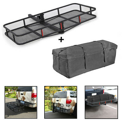 """60"""" Luggage Folding Mounted Hitch Cargo Carrier Basket Tray + Waterproof Bag"""