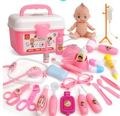 20-37Pc Doctor Medical Toy Set Nurse Carry Box Kid Role Play Pretend Kit Case UK