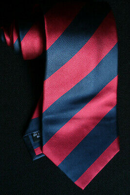 b1b015500b22 Crombie Woven Silk Tie Red & Navy Blue Jumbo Stripes A Wedding Stunner In  Nmcond