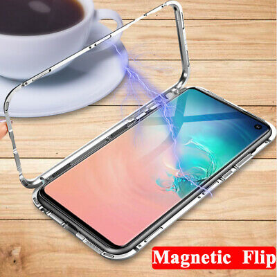 For Samsung Galaxy S10 Plus S9 S8 Magnetic Adsorption Tempered Glass Case Cover