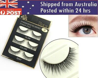 Eyelashes 3 Pairs Natural Long Thick Makeup Cross False Eye Lashes AU Stock Mink