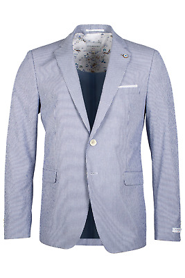 Giordano Jacket - Giordano Men's V912606 Robert Seersucker Blazer Blue/White