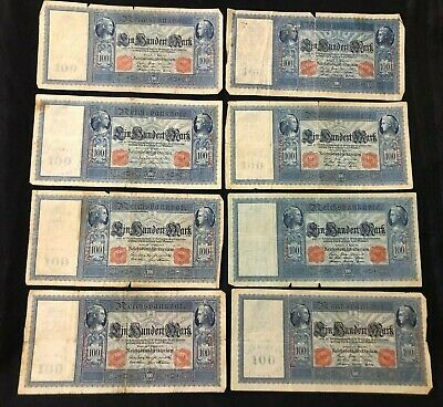 13 pcs Germany 100 mark banknotes 1909 circulated
