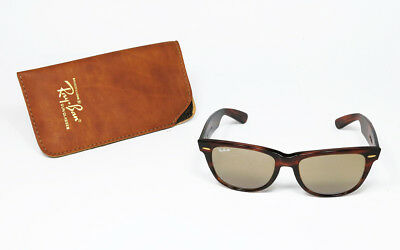 970bcd33b37fc5 Like us on Facebook · NOS VINTAGE SUNGLASSES RAYBAN WAYFARER II 50th  TORTOISE GOLD RB-50 TOP MIRROR BL