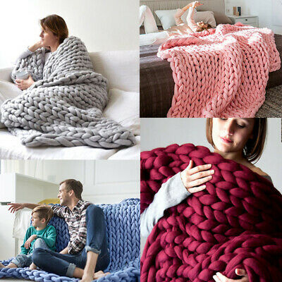 Chunky Knit Luxury Throw Blanket Large Cable Knitted Handmade Soft Bulky Blanket