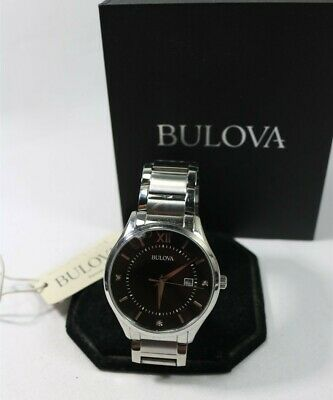 Bulova 96D142 Stainless Steel Diamond Accented Black Dial Men's Watch $295 READ!