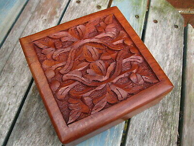 """WOODEN HAND CARVED BOX Storage JEWELLERY INDIAN Trinket MEMORY CRAFT BOX 6""""x 6"""""""