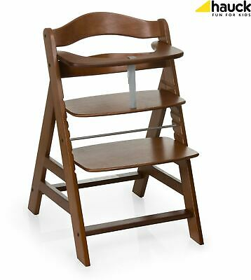 Hauck ALPHA+ WOODEN HIGHCHAIR WALNUT Highchair Baby Feeding - NEW